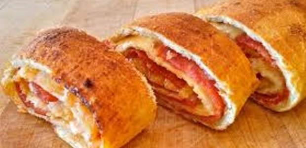 Receita Pizza Enrolada de Presunto