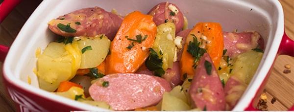 Receita Legumes com Salsicha Assado