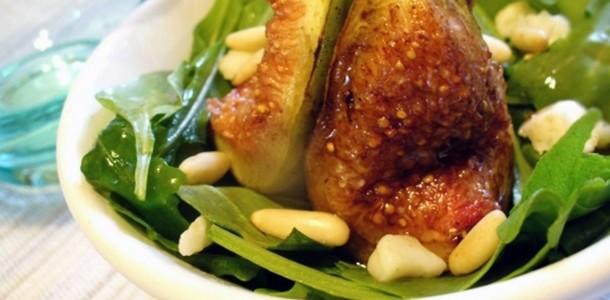 Receita Salada Verde com Figos Grelhados
