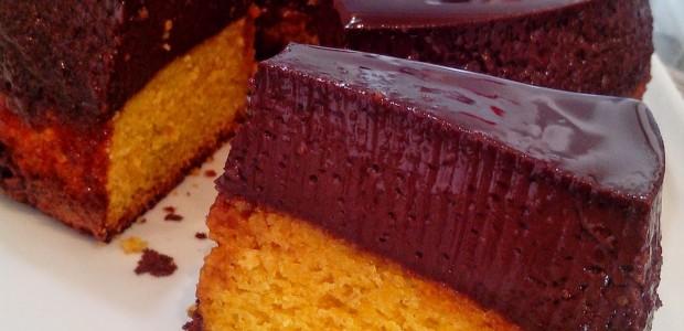 Pudim de Chocolate com bolo de Milho