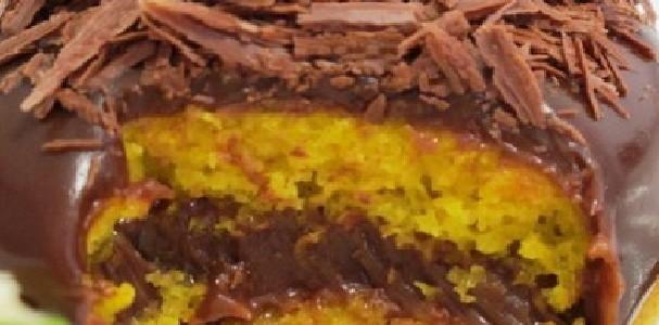 Bolo de Laranja Recheado com Chocolate