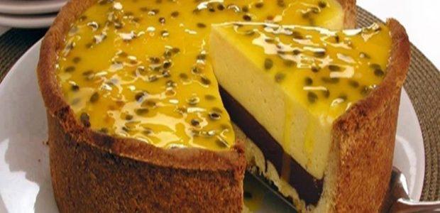 Torta de Maracujá e Chocolate